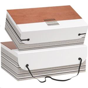 Coffret carton rectangle ocre/blanc/noir motifs fermeture élastique ( dim 33x21x 12 cm )